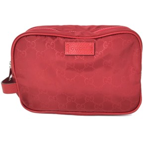 Gucci NEW GUCCI Men's GG Guccissima Nylon Toiletry Bag, Red