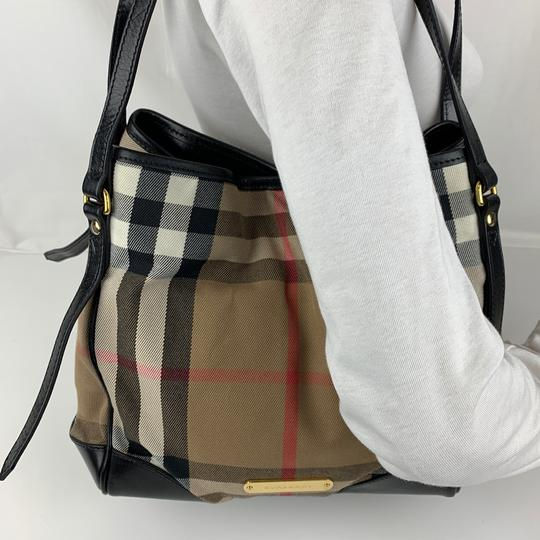 Burberry Tote in Brown, Tan, Check Image 2