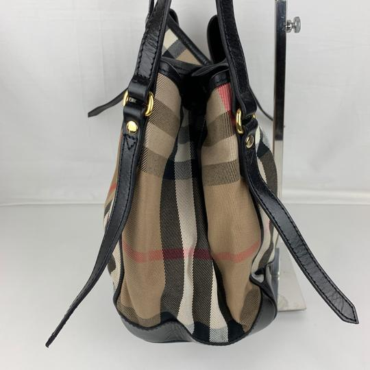 Burberry Tote in Brown, Tan, Check Image 4