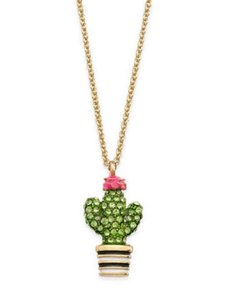 Kate Spade 12k Gold Plated Scenic Route Pavé Cactus Pendant Necklace