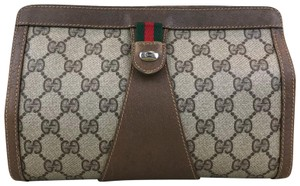 Gucci Gg Web Stripe Pouch Brown Clutch