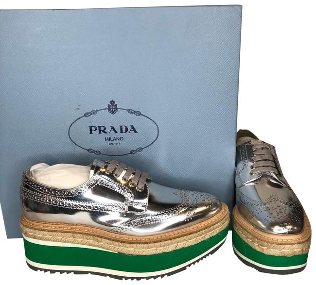 Item - Silver/Green Calzature Donna Mirrored Laced Sneakers Platforms Size US 6 Regular (M, B)