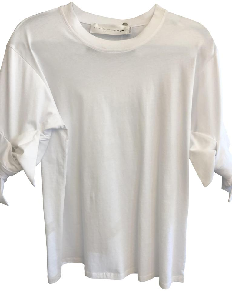 uk availability de92a 60923 Victoria Beckham White Bow Sleeve Accent Cotton Tee Shirt Size 8 (M) 61%  off retail