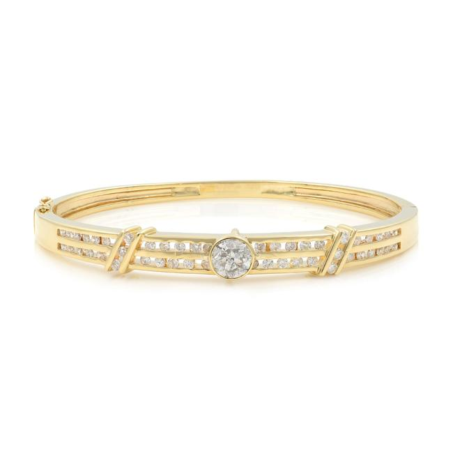Item - 14k Yellow Gold Channel Set Diamond Bangle with Bazel Set Center Stone Bracelet