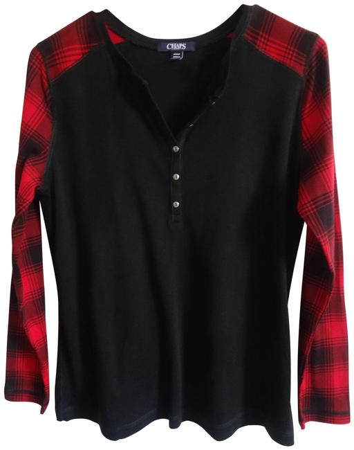 Chaps Black & Red Tee Shirt Size 12 (L) Chaps Black & Red Tee Shirt Size 12 (L) Image 1
