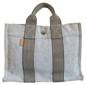 Hermes Fourre-tout Pm Canvas Tote in Silver-Black