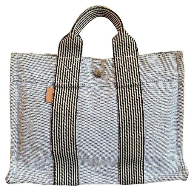 Item - Fourre Tout Bag Pm Silver-black Canvas Tote