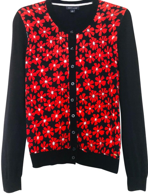 Item - Navy Blue/Red Button-down with Flowers Pattern. Cardigan Size Petite 6 (S)