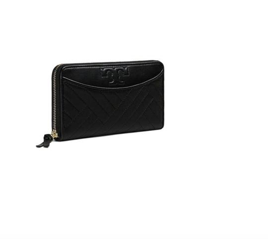 Tory Burch NWT TORY BURCH ALEXA ZIP CONTINENTAL WALLET BLACK LEATHER CLUTCH BAG Image 2