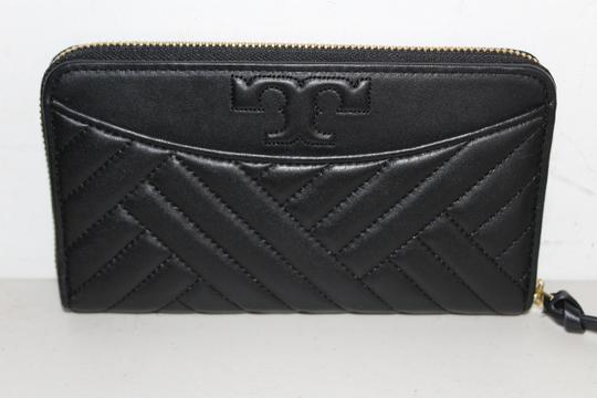 Tory Burch NWT TORY BURCH ALEXA ZIP CONTINENTAL WALLET BLACK LEATHER CLUTCH BAG Image 3