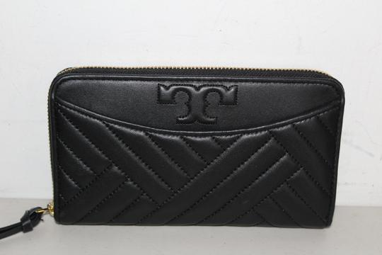 Tory Burch NWT TORY BURCH ALEXA ZIP CONTINENTAL WALLET BLACK LEATHER CLUTCH BAG Image 6