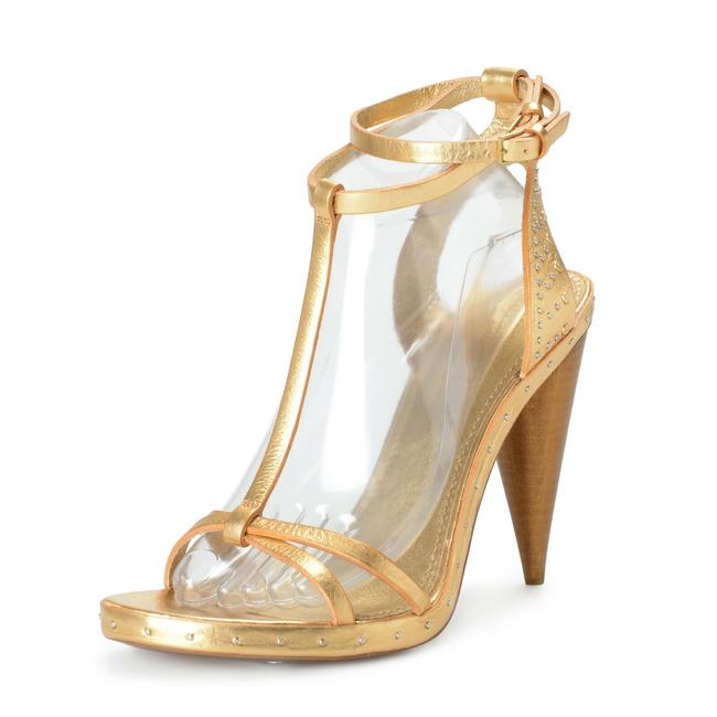 Item - Gold Women's Leather Ankle Strap High Sandals Size US 10 Regular (M, B)