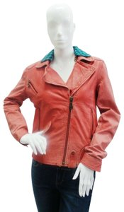 DOMA Distressed Collar Red / Blue Leather Jacket