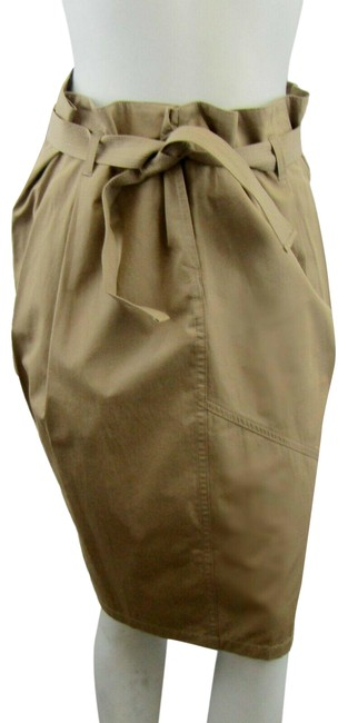 Item - Taupe 42 Brown Belted Cotton Skirt Size 6 (S, 28)