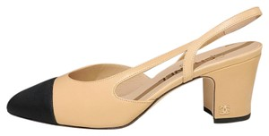 Chanel Slingbacks Two Tone Cc Slingback Size 38.5 Beige Black Pumps