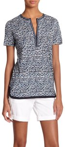 Tory Burch Linen Tee Linen Nic Print Linen Top Blue Tribal Peninsula