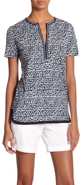 Preload https://img-static.tradesy.com/item/25849100/tory-burch-blue-tribal-peninsula-nic-print-linen-tee-blouse-size-2-xs-0-1-650-650.jpg