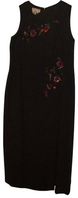 Item - Black Colorful Beaded AppliquÉ Flowers Running Down The Front Of Long Formal Dress Size 22 (Plus 2x)