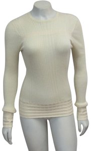 Chanel Vintage Cashmere Sweater Ribbed Top Ivory