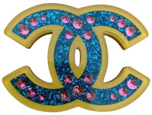 Chanel Chanel 2018 Brooch CC Pin Blue Glitter Yellow Resin Pink Rhinestone