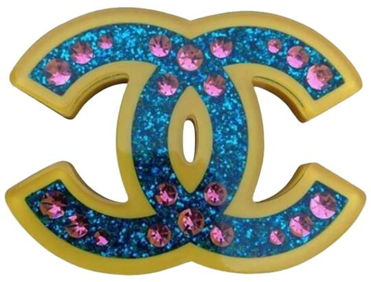 Chanel Chanel 2018 Brooch CC Pin Blue Glitter Yellow Resin Pink Rhinestone Image 0