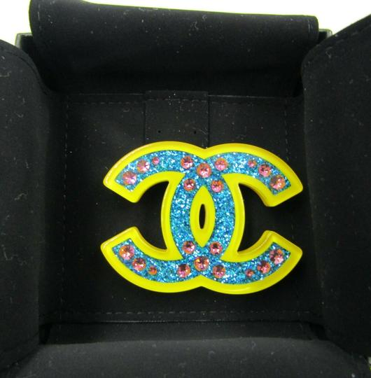 Chanel Chanel 2018 Brooch CC Pin Blue Glitter Yellow Resin Pink Rhinestone Image 9
