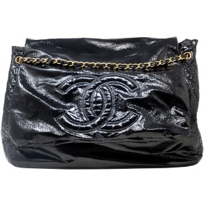 Chanel And Chain Patent Leather Leather Handbag Black Travel Bag
