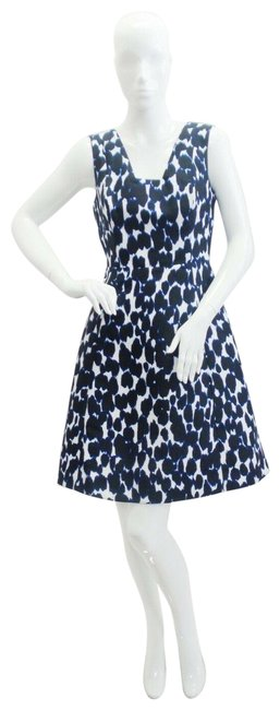 Item - Blue / Black / White Leopard Mid-length Short Casual Dress Size 4 (S)