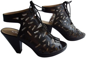 CL by Chinese Laundry Chunky Heel Platform Lace Up Black Sandals
