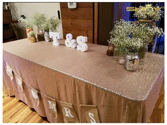 Blush Sequin Tablecloth Image 6