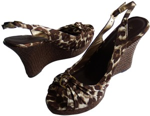 Le Château Ratan Slingback Open Toe Brown/Animal Print Wedges