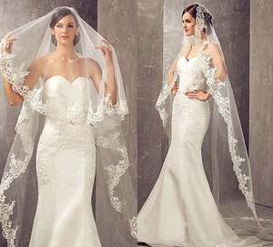Long White Or Ivory 3m/10ft 1t Lace Appliqué Edge Cathedral with Comb Bridal Veil