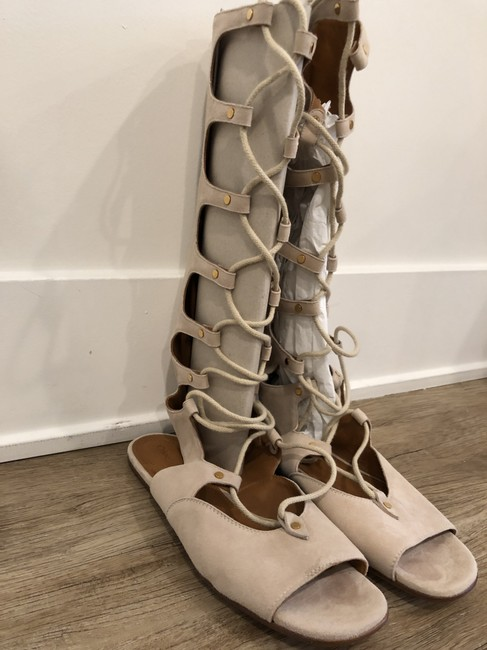 Chloé Nude Gladiator Lace Up Sandals Size EU 39 (Approx