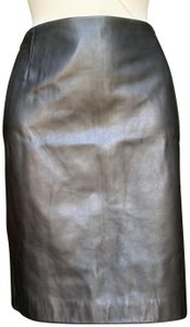 "Lafayette 148 New York Ny Leather Whip Stitch Length @ Rear 20.25"" Waist Approx. 35"" Skirt Black"