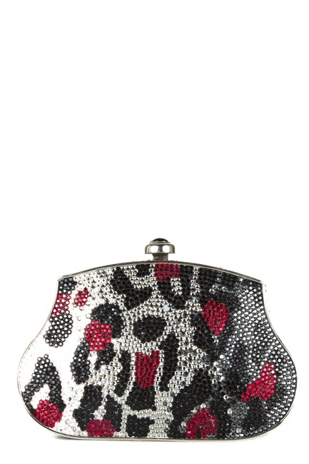 Item - Black and Red Animal Swaroski Silver Crystals Clutch