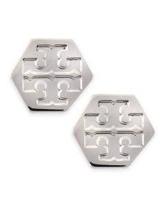 Tory Burch Tory Burch HEXAGON LOGO STUD EARRING