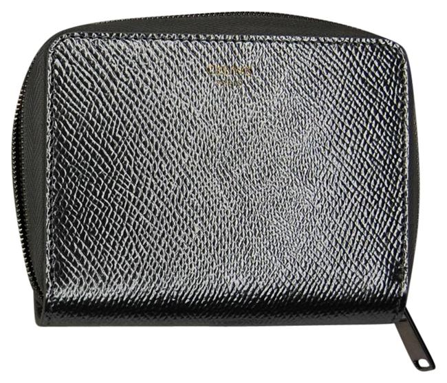 Céline Silver Compact In Laminated Grained Calfskin Wallet Céline Silver Compact In Laminated Grained Calfskin Wallet Image 1