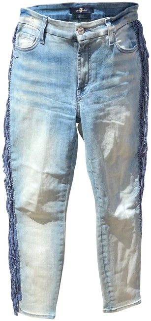 Item - Blue Light Wash Fringe Denim Skinny Jeans Size 27 (4, S)