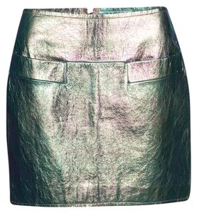Marc by Marc Jacobs Leather Polyester Viscose Mini Skirt Metallic