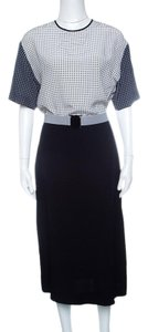Victoria, Victoria Beckham short dress Navy Blue Printed Belted Silk on Tradesy