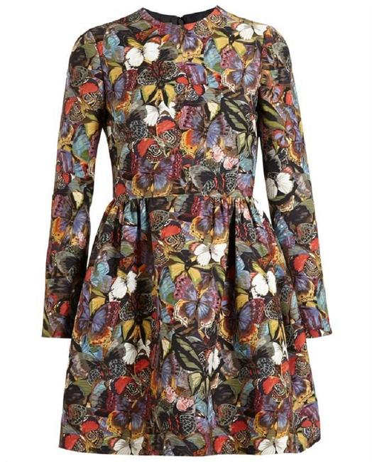 Item - Multicolor Long-sleeve Butterfly Print Bambolina Short Formal Dress Size 10 (M)