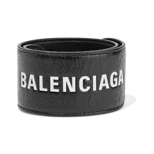 Balenciaga logo printed cycle leather bracelet
