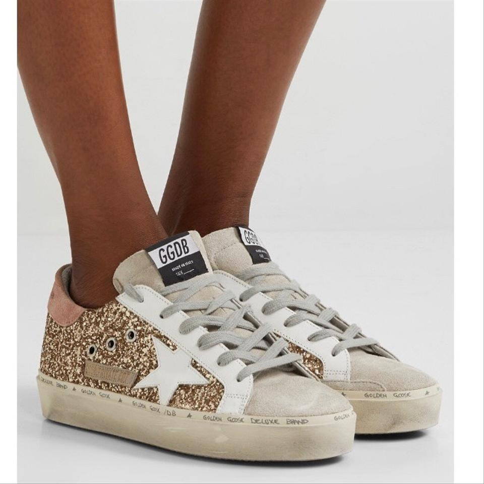 Golden Goose Deluxe Brand Hi Star Distressed Glitter Leather Sneakers Size EU 38 (Approx. US 8) Regular (M, B)