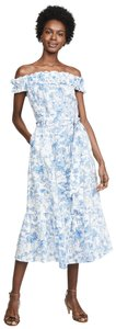 Blue white ivory Maxi Dress by Tory Burch Maxi Cover Up Summer Sundress Linen