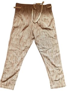 Free People Straight Pants white & brown