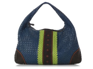 Bottega Veneta Bv.q0708.15 Blue Green Woven Reduced Price Hobo Bag