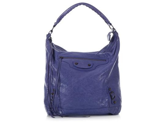 55d518949058 Balenciaga Classic Day Distressed Purple Leather Shoulder Bag 66% off retail