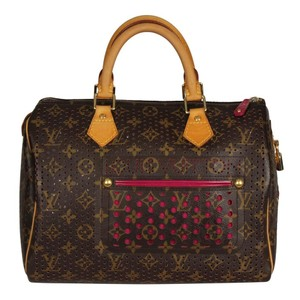 Louis Vuitton Limited Edition Perforated Speedy Vintage Satchel in Brown