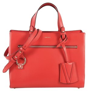 Versace Leather Tote in red