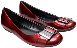 Etienne Aigner Patent Leather Buckle Ballet Red Flats
